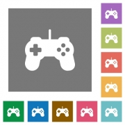 Game controller flat icon set on color square background. - Game controller square flat icons