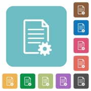 Flat document setup icons on rounded square color backgrounds. - Flat document setup icons