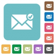 Flat mail sent icons on rounded square color backgrounds. - Flat mail sent icons