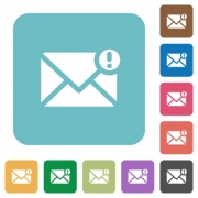 Flat important message icons on rounded square color backgrounds. - Flat important message icons