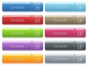 Set of contacts glossy color captioned menu buttons with embossed icons - Contacts captioned menu button set