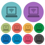 Color computer with wireless flat icon set on round background. - Color computer with wireless flat icons