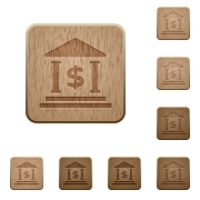Set of carved wooden dollar bank buttons in 8 variations. - Dollar bank wooden buttons