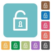 Flat unlocked padlock icons on rounded square color backgrounds. - Flat unlocked padlock icons