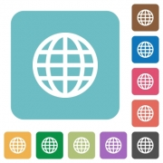 Flat globe icons on rounded square color backgrounds. - Flat globe icons