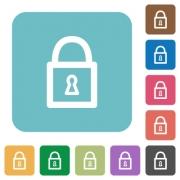 Flat locked padlock icons on rounded square color backgrounds. - Flat locked padlock icons