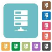 Flat data network icons on rounded square color backgrounds. - Flat data network icons
