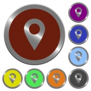 Set of color glossy coin-like location pin buttons. - Color location pin buttons