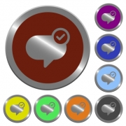 Set of color glossy coin-like message sent buttons. - Color message sent buttons