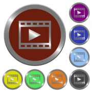 Set of color glossy coin-like play movie buttons. - Color play movie buttons