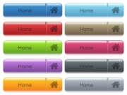Set of home glossy color captioned menu buttons with engraved icons - Home captioned menu button set