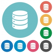 Flat database icon set on round color background. - Flat database icons