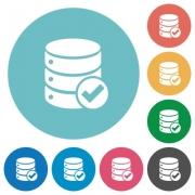 Flat Database ok icon set on round color background. - Flat Database ok icons