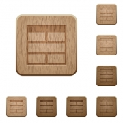 Set of carved wooden Spreadsheet horizontally merge table cells buttons in 8 variations.