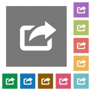 Export flat icon set on color square background. - Export square flat icons