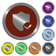 Set of color glossy coin-like protection ok buttons. - Color protection ok buttons