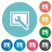 Flat screen settings icon set on round color background. - Flat screen settings icons
