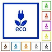 Set of color square framed ECO energy flat icons - ECO energy framed flat icons
