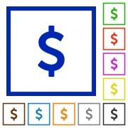 Set of color square framed Dollar sign flat icons - Dollar sign framed flat icons