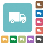 Flat delivery icons on rounded square color backgrounds. - Flat delivery icons