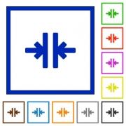Set of color square framed Vertical merge flat icons - Vertical merge framed flat icons