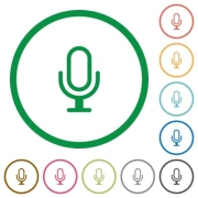 Set of Microphone color round outlined flat icons on white background - Microphone outlined flat icons