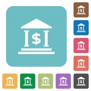 Flat dollar bank icons on rounded square color backgrounds. - Flat dollar bank icons