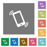 Ringing phone flat icon set on color square background. - Ringing phone square flat icons