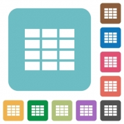 Flat spreadsheet icons on rounded square color backgrounds. - Flat spreadsheet icons