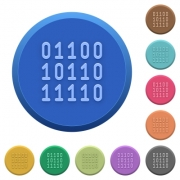 Set of round color embossed binary code buttons - Embossed binary code buttons