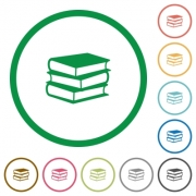 Set of books color round outlined flat icons on white background - Books outlined flat icons