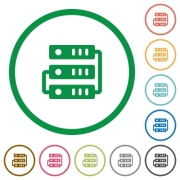 Set of Servers color round outlined flat icons on white background - Servers outlined flat icons