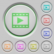 Set of color Play movie sunk push buttons. - Play movie push buttons