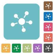 Flat connections icons on rounded square color backgrounds. - Flat connections icons