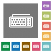 Computer keyboard flat icon set on color square background. - Computer keyboard square flat icons