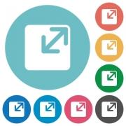 Flat resize window icon set on round color background. - Flat resize window icons