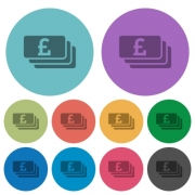 Color pound banknotes flat icon set on round background. - Color pound banknotes flat icons