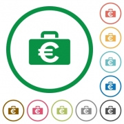Set of Euro bag color round outlined flat icons on white background - Euro bag outlined flat icons