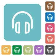 Flat headset icons on rounded square color backgrounds. - Flat headset icons