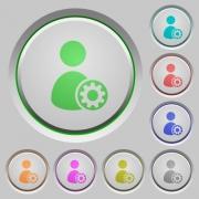 Set of color User account settings sunk push buttons. - User account settings push buttons