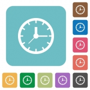 Flat clock icons on rounded square color backgrounds. - Flat clock icons