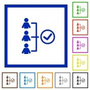 Set of color square framed Successful teamwork flat icons - Successful teamwork framed flat icons