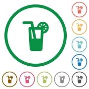 Set of Longdrink color round outlined flat icons on white background - Longdrink outlined flat icons