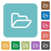 Flat open folder icons on rounded square color backgrounds. - Flat open folder icons