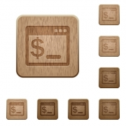 Set of carved wooden OS command terminal buttons in 8 variations. - OS command terminal wooden buttons