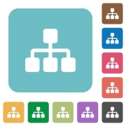 Flat network icons on rounded square color backgrounds. - Flat network icons