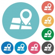 Flat map location icon set on round color background. - Flat map location icons
