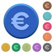 Set of round color embossed euro sign buttons - Embossed euro sign buttons