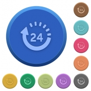 Set of round color embossed 24 hour delivery buttons - Embossed 24 hour delivery buttons