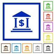 Set of color square framed Dollar bank flat icons - Dollar bank framed flat icons - Large thumbnail